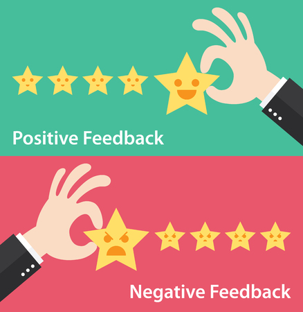 Illustrazione per Business hand give five star of positive and negative feedback. - Immagini Royalty Free
