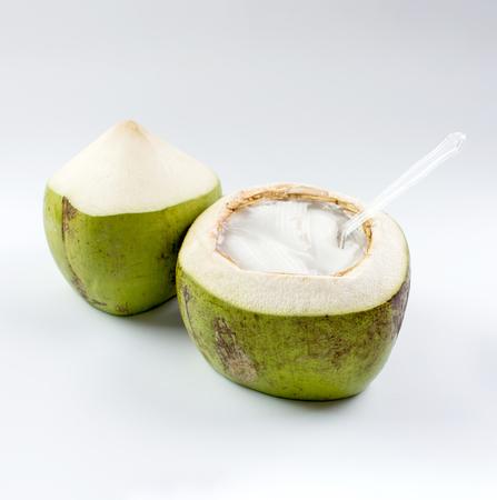 Foto de Young coconut jelly on white background - Imagen libre de derechos