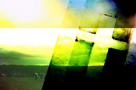 Foto de Christian cross on an abstract background - Imagen libre de derechos