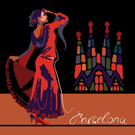 Ilustración de Abstract woman dancer in Spain in Barcelona (poster or card) - Imagen libre de derechos