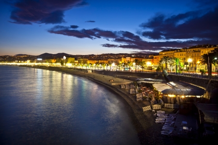 Photo for The beach and the waterfront of Nice at night, France. - Royalty Free Image