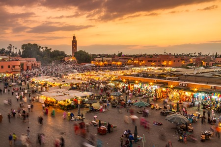 Photo for Jamaa el Fna market square, Marrakesh, Morocco, north Africa. Jemaa el-Fnaa, Djema el-Fna or Djemaa el-Fnaa is a famous square and market place in Marrakeshs medina quarter. - Royalty Free Image
