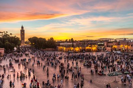 Photo for Jamaa el Fna market square, Marrakesh, Morocco, north Africa. Jemaa el-Fnaa, Djema el-Fna or Djemaa el-Fnaa is a famous square and market place in Marrakeshs medina quarter. - Royalty Free Image