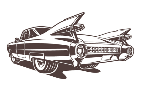 Ilustración de Monochrome car illustration on white background - Imagen libre de derechos