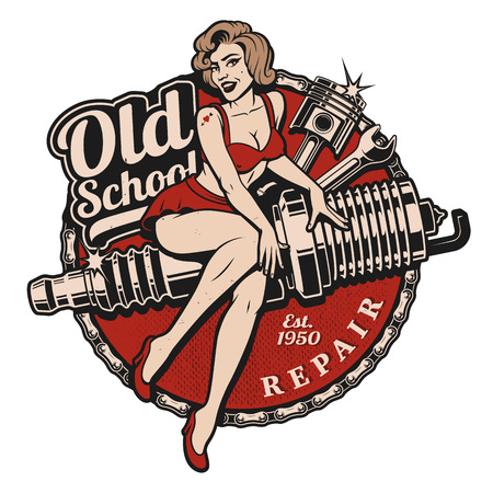 Photo pour Spark Plug Pin Up Girl illustration with piston and wrench. Vintage style.  All elements, text are on the separate layer. - image libre de droit