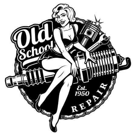 Photo pour Spark Plug Pin Up Girl illustration with piston and wrench. Vintage style. - image libre de droit