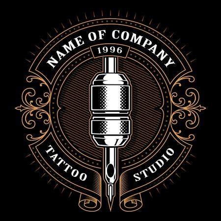 Illustrazione per Tattoo studio logo template. Vintage style frame with tattoo machine. - Immagini Royalty Free
