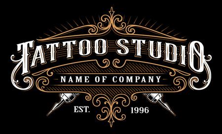 Ilustración de Tattoo lettering in retro style frame on black background. - Imagen libre de derechos