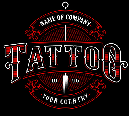 Ilustración de Vintage tattoo lettering illustration in red color on black background. - Imagen libre de derechos