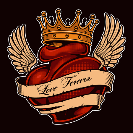 Illustrazione per Tattoo heart with wings in crown. Chicano tattoo, graphic design for shirts. All elements, text, colors are on the separate layers. (COLOR VERSION) - Immagini Royalty Free