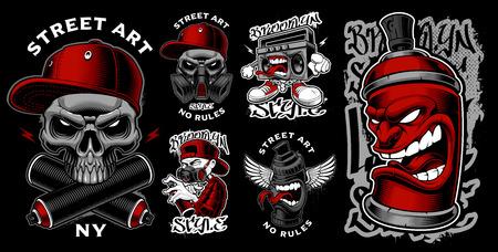 Illustration for Set of graffiti illustrations. - Royalty Free Image
