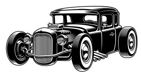 Illustrazione per Vector black and white illustration of hot rod - Immagini Royalty Free