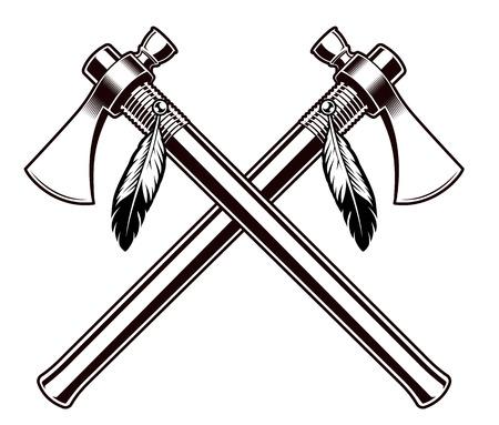 Ilustración de Black and white vector illustration of the tomahawks - Imagen libre de derechos