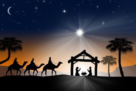 Foto de Traditional Christian Christmas Nativity scene with the three wise men - Imagen libre de derechos