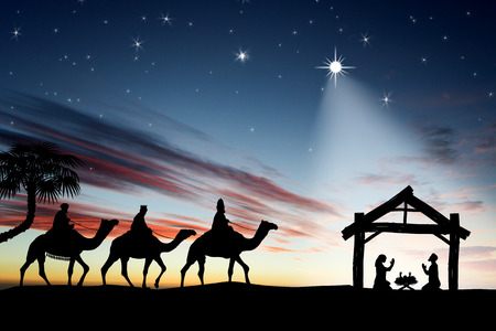 Photo for Traditional Christian Christmas Nativity scene with the three wise men - Royalty Free Image