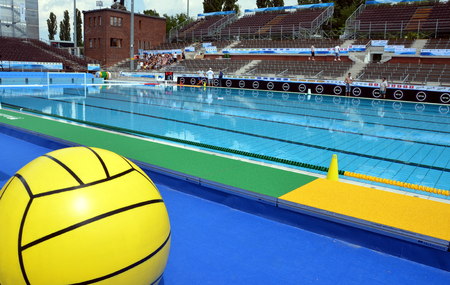 Budapest, Hungary - Jul 13, 2014 The historic swimming pool is ready for the start. The European Waterpolo Championship was held in Alfred Hajos Swimming Centre in 2014th