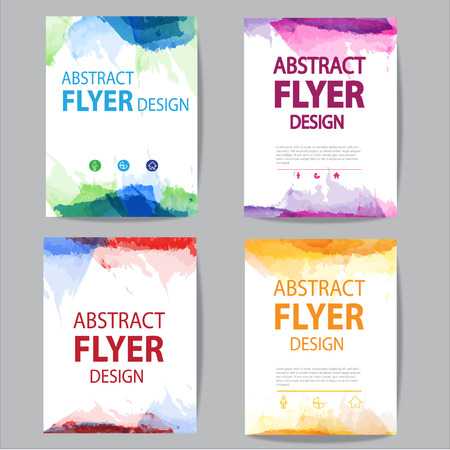 Illustration pour set of flyer or brochure  with modern watercolor design - image libre de droit