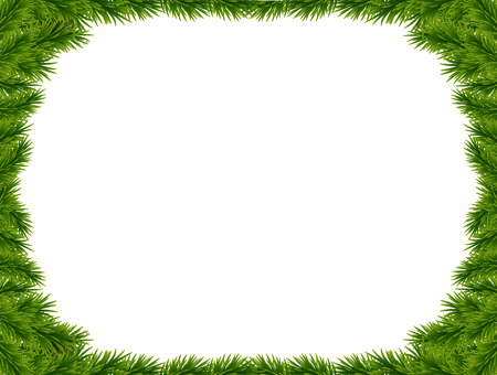 Illustration for Background with vector christmas tree branches and space for text. Realistic fir-tree border, frame isolated on white. Great for christmas cards, banners, flyers, party posters. - Royalty Free Image