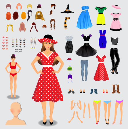 Illustration for Big set for creation unique female character. Full body, legs, arms,face, eyes, eyebrows, hairstyle, lips, clothes, shoes, accessories isolated on white background. Vector illustration, clip art. - Royalty Free Image
