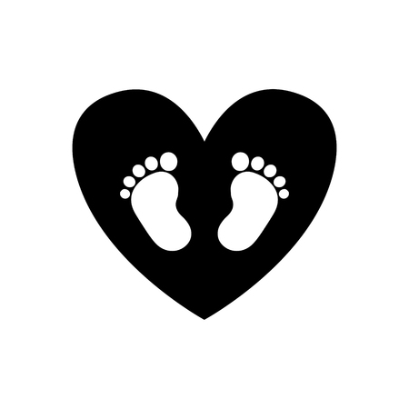 Illustration pour Baby footprints inside of black heart icon isolated on white background. Black and white vector illustration, logo, icon. - image libre de droit
