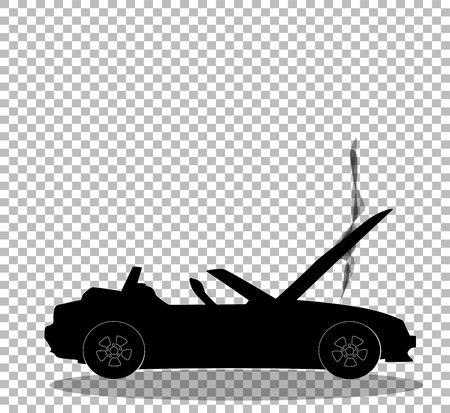 Illustration pour Black silhouette of broken cabriolet sport cartoon car with opened hood covered with smoke. Sports car crash, accident. Vector illustration, sign, symbol, clip art. Isolated on transparent background. - image libre de droit