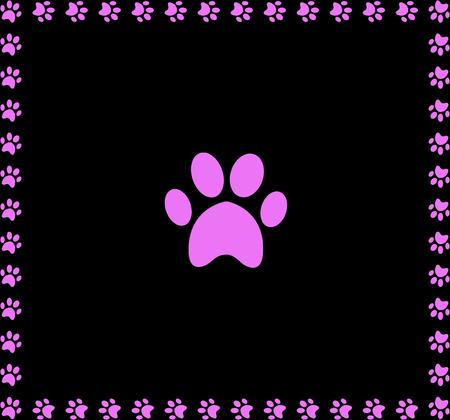 Ilustración de Pink animal pawprint icon framed with paw prints square border isolated on black background. - Imagen libre de derechos