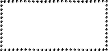 Illustration pour Rectangle frame made of black animal paw prints on white background vector illustration, template, border, framework, photo frame, poster, banner, cats or dogs paw walking track. - image libre de droit