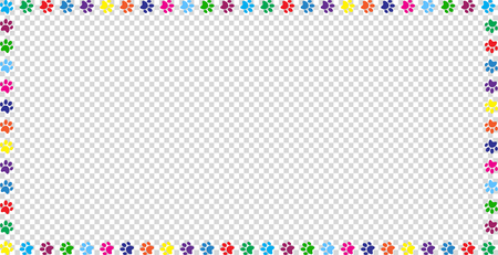 Illustration pour Rectangle frame made of multicolored rainbow animal paw prints on transparent background. Vector illustration, template, border, framework, photo frame, poster, banner, cats or dogs paw walking track. - image libre de droit