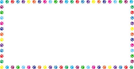 Ilustración de Rectangle frame made of multicolored rainbow animal paw prints on white background. Vector illustration, template, border, framework, photo frame, poster, banner, cats or dogs paw walking track. - Imagen libre de derechos