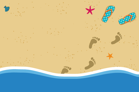 Ilustración de Summer vacation vector photo border frame with pair of flip flops and human barefoot foot prints on sand going out of water. Sandy sea shore with footprints and shells template with space for text. - Imagen libre de derechos