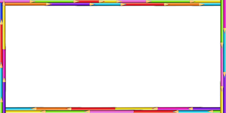 Illustrazione per Vector creative rectangle border frame made of colored wooden pencils on white background. Back to school framework bordering template concept, banner, poster with empty copy space for text - Immagini Royalty Free