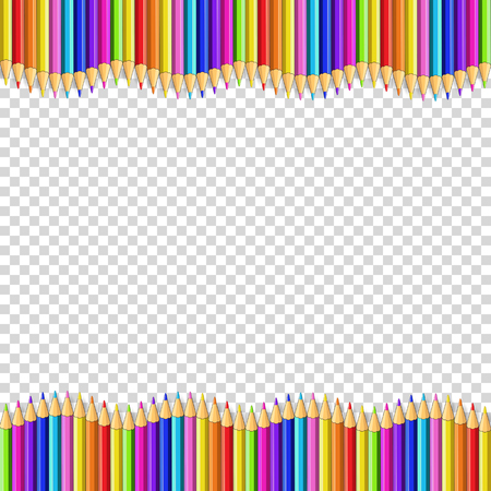 Illustrazione per Vector border frame made of colored wooden pencils isolated on transparent background. Back to school framework bordering template concept, banner, poster with empty copy space for text. - Immagini Royalty Free