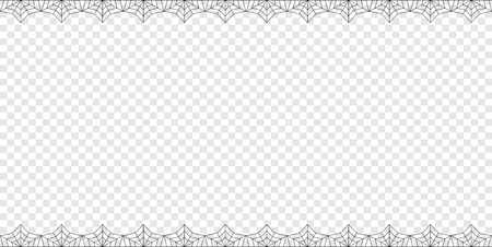 Illustration pour Vector elegant double up and down rectangle black spiderweb frame with copy space isolated on transparent background. Template for invitation, flyer, scrapbook or greeting card. Halloween border. - image libre de droit
