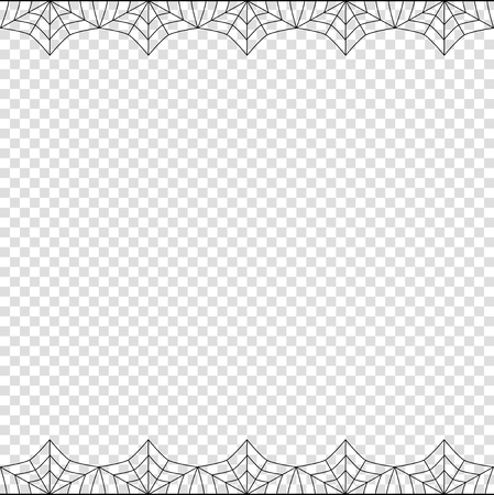 Illustration pour Halloween frame. Vector elegant double up and down square black spiderweb border with copy space for text isolated on transparent background. Template for invitation, flyer, scrapbook or greeting card - image libre de droit
