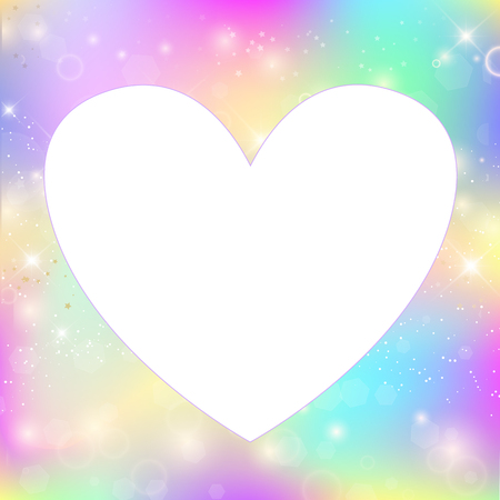 Foto de Heart frame magic border with rainbow mesh. Girlish universe banner in princess colors. Fantasy gradient photo frame with hologram. Holographic magic copy space with fairy sparkles, stars and blurs. - Imagen libre de derechos