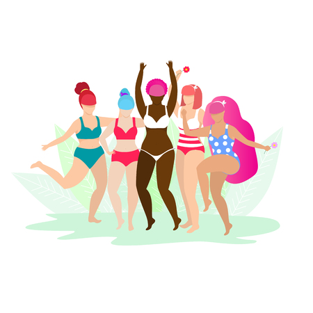 Illustrazione per Friendship, Diverse, Body Positive and People Concept. Group of Happy Different Age and Ethnicity Women in Swimwear Hugging on White Background with Leaves. Cartoon Flat Vector Illustration. Clip Art. - Immagini Royalty Free