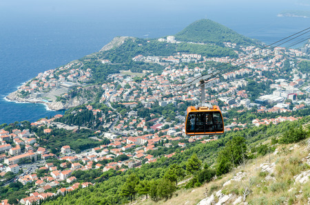image of cableway over Dubrovnik city in summer time