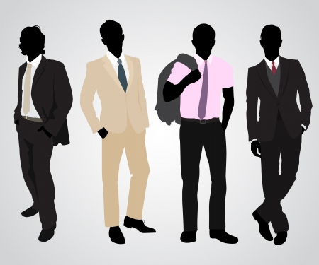 Ilustración de Vector illustration of a four businessman silhouettes  - Imagen libre de derechos