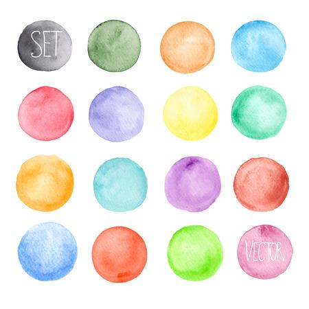 Ilustración de Vector watercolors pattern. Round shapes pattern. Painted ornament. Set of watercolor shapes. Watercolors blobs - Imagen libre de derechos