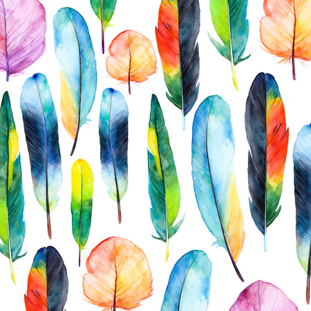Illustration pour Watercolor feathers set. Hand drawn vector illustration with colorful feathers. Pattern with hand drawn feathers. Feather isolated on white background - image libre de droit