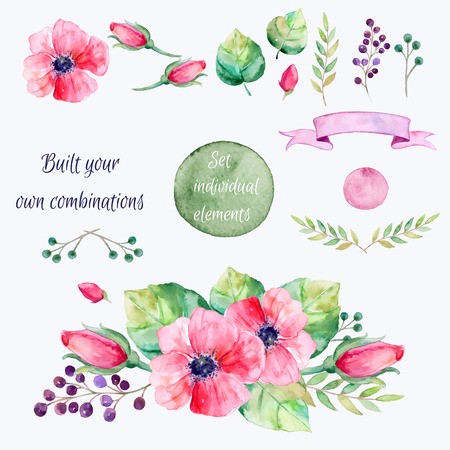 Ilustración de Vector flowers set.Colorful floral collection with leaves and flowersdrawing watercolor.Spring or summer design for invitationwedding or greeting cards.2 bouquets1 banner for your own combinations - Imagen libre de derechos