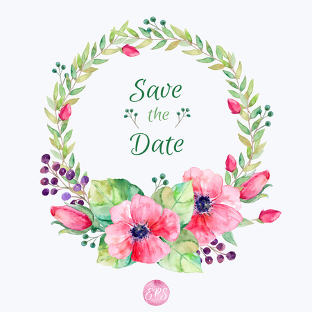 Ilustración de Vector flowers set. Colorful floral collection with leaves and flowers watercolor drawing. Spring or summer design for invitations greeting cards or wedding. Floral wreath for your own combinations - Imagen libre de derechos