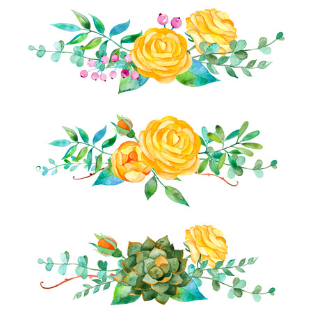 Ilustración de Vector flowers set. Colorful floral collection with leaves and flowers. 3 beautiful bouquet for your design with roses leaves berries and succulent plants - Imagen libre de derechos