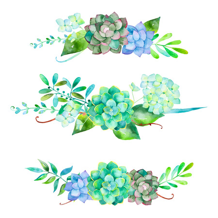 Illustration pour Vector flowers set. Colorful floral collection with leaves and flowers. 3 beautiful bouquet for your design with hydrangea leaves berries and succulent plants - image libre de droit