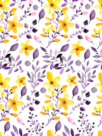 Watercolor floral seamless pattern with flowers and leafs. Vector illustration