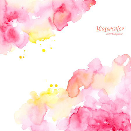 Ilustración de Abstract pink yellow hand drawn watercolor background, vector illustration. Watercolor composition for scrapbook elements. Watercolor shapes on white background. - Imagen libre de derechos