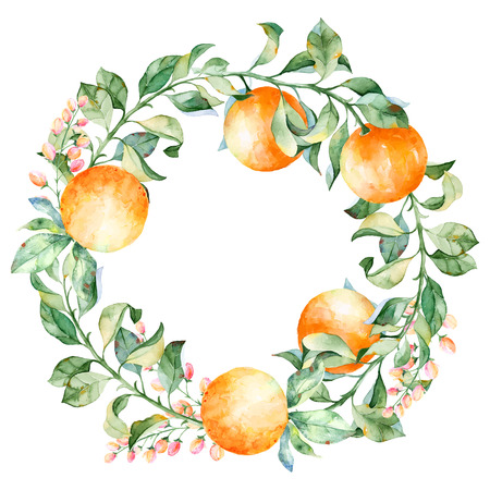 Ilustración de Vector round frame of watercolor orange and flowers. Watercolor illustration wreath of mandarin and leaves. Can be used as a greeting card for background, birthday, mother's day and so on. - Imagen libre de derechos