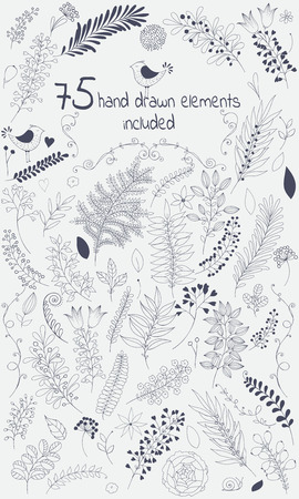 Illustration pour The vector design toolkit includes 75 individuals floral hand drawn elements.This elements come in black version for your own design.Big set floral elements with flowers, leaves, berries and so on.Creating your design with leaves and flowers will be a eff - image libre de droit