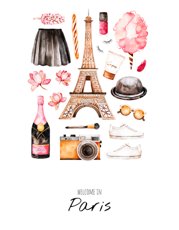 Photo for Watercolor fashion illustration. Watercolor illustration Paris style. Handpainted postcard with cosmetics, Eiffel Tower, champagne, camera, cotton candy, sweet etc.Perfect for you project, invitation, print - Royalty Free Image