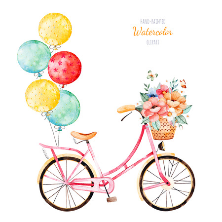 Foto de Beautiful floral collection. Bike with bouquet in basket and multicolored balloons.Lovely illustration for your design.Perfect for wedding, invitations, blogs, template card, birthday, baby cards, patterns - Imagen libre de derechos